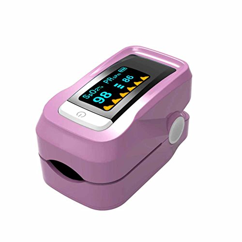 WANGXN Fingerpulsoximeter Digital LED Blut Sauerstoff Pulsmesser Mit Alarm Oximeter,Pink