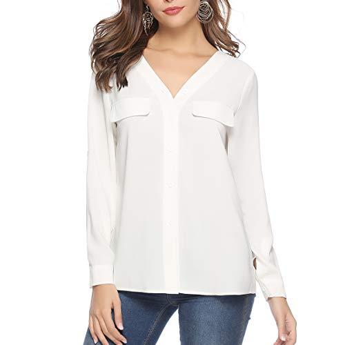 Aibrou Damen Chiffon Bluse mit V-Ausschnitt Langarmshirt Casual Elegant Hemd Oberteil Tops Shirts mit Gefälschte Tasche und Taste -
