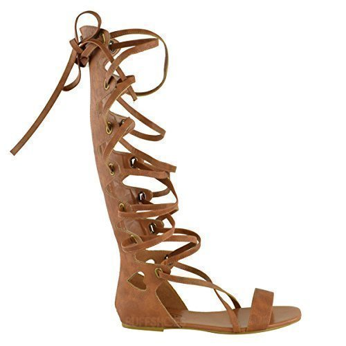 LADIES WOMENS KNEE HIGH GLADIATOR SANDALS FLAT LACE UP STRAPPY SUMMER SHOES SIZE (UK 8, Tan Brown Faux Leather)