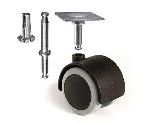 Slipstick CB681 Universal Möbelrollen Gummirollen Lenkrollen Laufrollen Bodenschutz Rollen mit Anschraubplatte und Hülse Stift 4 Stück
