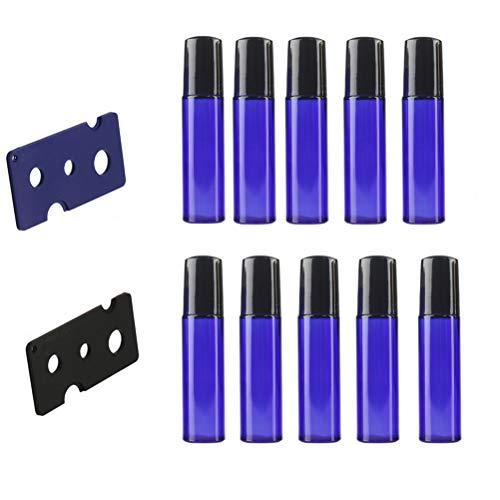 Healifty 10pcs bouteilles à rouleaux pour huiles essentielles bleu rouleau sur bouteilles bouteilles à billes en métal avec couvercles 2pcs ouvre (bouteille bleue) 10 ml