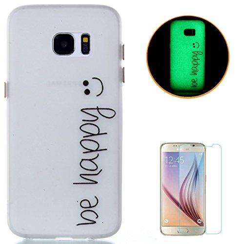 CaseHome Compatible for Samsung Galaxy S7 Edge Elegant TPU Hülle (Mit Frei Schirm-Schutz) Transparenter Gummi Weich Stoßfest Rutschfest Silikongel Fall Abdeckung Haut Schale-Smiley Emoji(Be Happy)