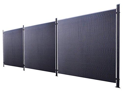 Prime Tech Poly-Rattan Sichtschutz/Zaun-Set 7-teilig schwarz ca. 571cm