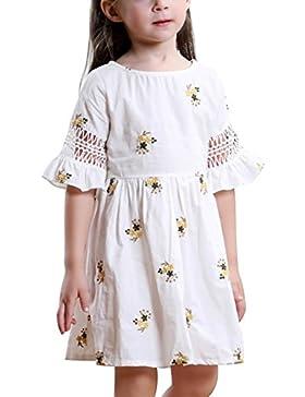Loveble Bella estate neonato bambino vestito manica corta ricamo cotone ragazze Abiti Casual