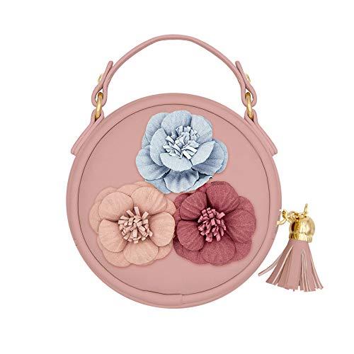MAPLE Mädchen Umhängetasche Kleine Mädchen Handtasche mit Blume Mini Münztüte Geldbörse Kleine Brieftasche Umhängetasche für Mädchen Kinder Kleinkind (Rosa)