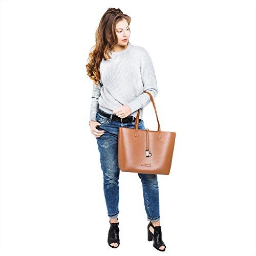 tragwert. Borsa da donna Shopping Bag LARA marrone - Borsa tote a spalla Shopper Borsetta Pochette marrone