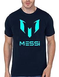 Elli Beth Sports Football Messi Logo Round Neck Half Sleeves Cotton Tshirt Black & Blue