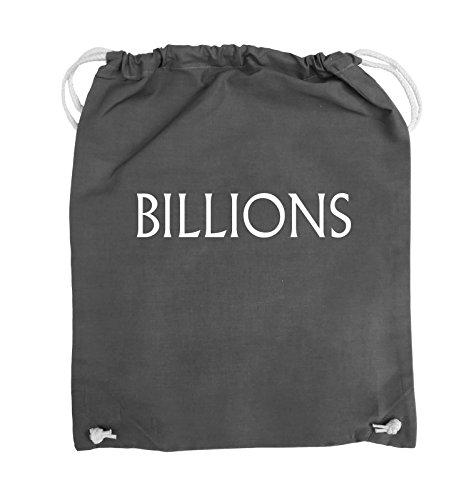 Comedy Bags - BILLIONS - LOGO - Turnbeutel - 37x46cm - Farbe: Schwarz / Pink Dunkelgrau / Weiss