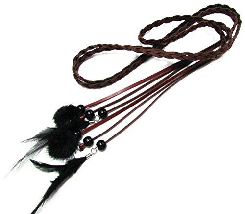 en Dekorative Dünne gestrickte Taille Kette/Seil /Gurt mit Fuzzy Ball Anhänger PDW0048 (175cm, dunkel rot) ()