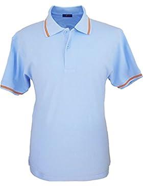 Pi2010 - Polo celeste con cuello con bandera de España para Hombre