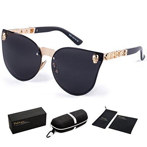 Dollger Steampunk Stil Cateye Sonnenbrille übergroßer Schädel Design Spiegel Objektiv UV400 Schutz (Randlose schwarze Linse + Goldrahmen) (Schädel-womens Licht)