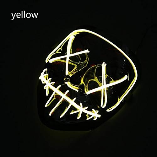 WSJMIANJU Halloween-Maske Halloween-Maske LED-Maske Leuchtende Party-Masken Neon Maska Cosplay-Wimperntusche Horror-Wimperntuschen Glow In Dark Masque V für VendettaYellow -