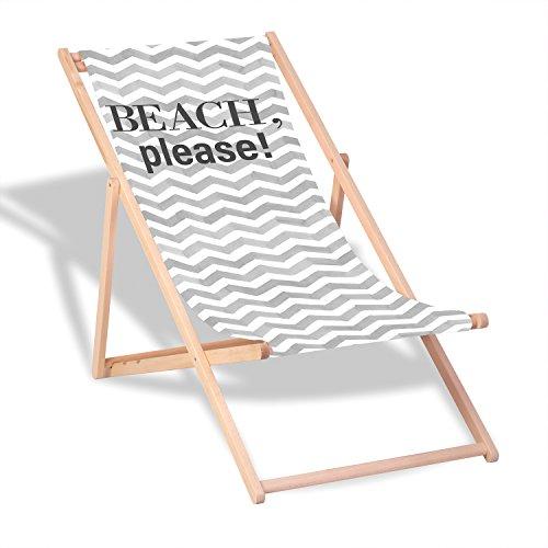"""Queence Dekorativer Holz-Liegestuhl   """"Beach""""   klappbar   Gartenliege   Strandliege   Sonnenliege   Gartenmöbel   120x60 cm   Verschiedene Motive, Größe:ca. 120x60 cm"""
