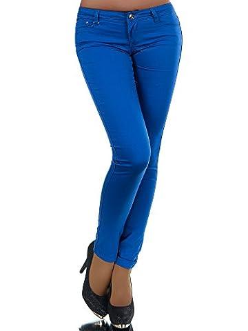 N227 Damen Hose Stoffhose Röhrenhose Treggings Röhre Skinny Normaler Bund, Farben:Blau;Größen:42 (XL)