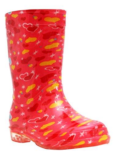 Boys Girls Unisex Childrens Kids Infants Mid Calf Pink Hearts Football Waterproof Wellington Wellies Rain Puddle Boots UK Sizes 6-2