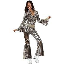 Atosa - 10443 - Disfraz Disco Plateado- talla XL - Color Plateado para Mujer Adulto