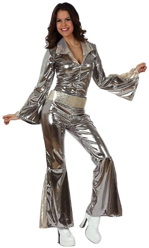 Atosa-10443 Disfraz Disco, Color plateado, XL (10443