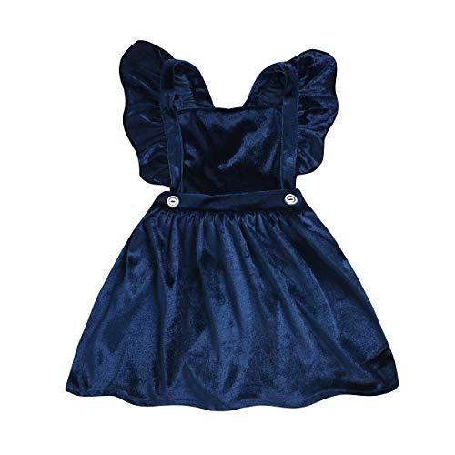 Baby-Kleinkind-Mädchen-Samt-Rüschen-Kleid-weicher Hosenträgerrock (Size : ()