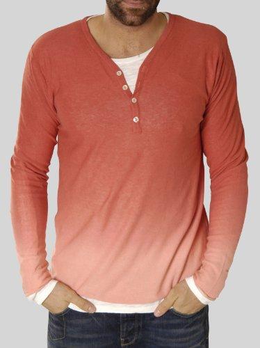 Scotch & Soda Herren Langarmshirt 13010260022 - Beach cardigan pull with inner tee Rot