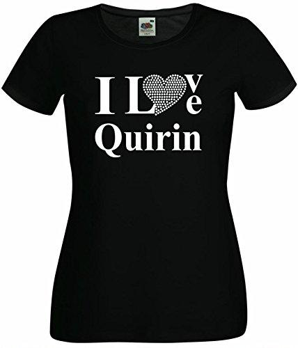 T-Shirt I Love Quirin mit einer Strassaplikation / Strassherz Weiß