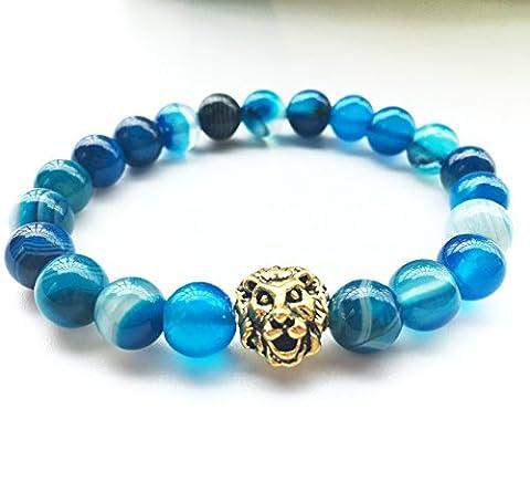 GTVERNH-Agate bracelet 8mm matte volcano rock on hand, lion head stretch bracelet, Unisex