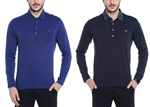 Dream of Glory Inc. Men's Branded Full Sleeve Polo Oxford Collar Buttoned Pocket T-Shirts Men Also in Plus Sizes: XS-8XL (Pack of 2)