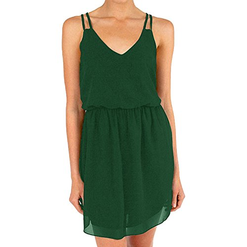 Cassiecy Women Summer Dress Sleeveless V-Neck Chiffon Double Shoulder Strap Elegant Mini Dress Party Dress Casual(Green S)