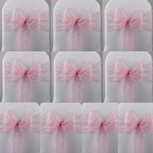 Juego de 10 lazos de organza para decorar sillas, color rosa