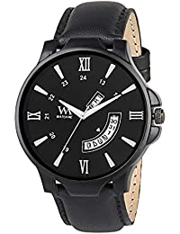 Watch Me Black Dial Black Leather Strap Premium Branded Limited Edition Day And Date Collection Watch For Men...