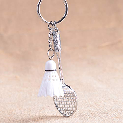 Schlüsselanhänger Badminton-Schläger Anhänger Metall Schlüsselanhänger Geldbörse Handtasche Auto Charm Schlüsselanhänger Geschenk (weiß)