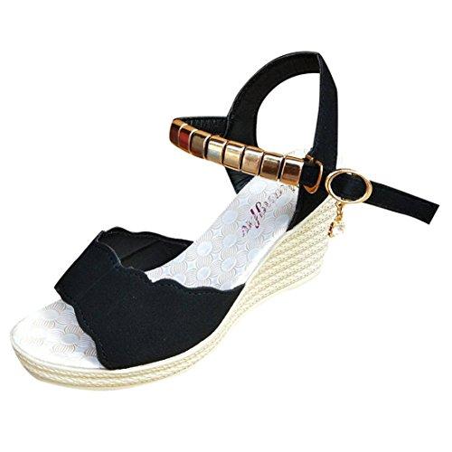 SANFASHION Femmes Sandales Compensées Femme Chaussures Tongs d'été Casual Peep Toe Platform Wedges Talons de Travail Élégant (34, Noir)