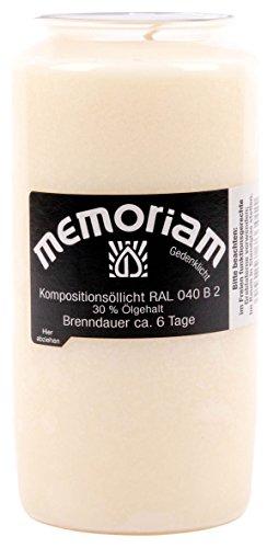 Memoriam Kompo Öllicht Nr. 733 - weiss - 6 Tage Brenndauer - 20 Stück