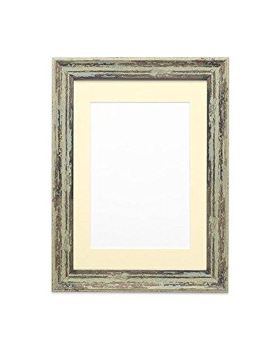 Holz Effekt / Camouflage Bilder- / Fotorahmen - Mit einer Perspex-Blatt - Löffel Grun Distressed Rahmen mit Elfenbein Montierung - 7 x 7 zoll für 5 x 5 Zoll Bilder ()