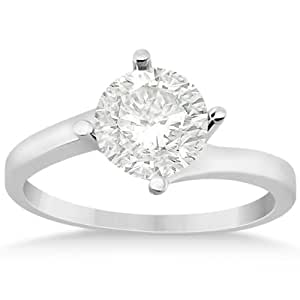 Allurez Curved Four-Prong Bypass Solitaire Engagement Ring Palladium - T 1/2