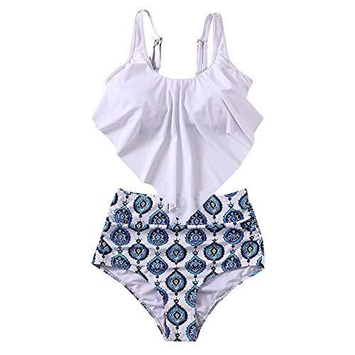 OSYARD Zweiteilige Swimsuit Damen Bikini Set Frauen Vintage Bademode Ruffles Strap Badeanzug Tankinis Swimsuit mit Hoher ()