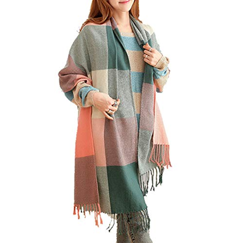 Miss Lulu Women Scarves Winter Long Soft Warm Tartan Check Wraps Wool Spinning Tassel Shawl Stole Scarf