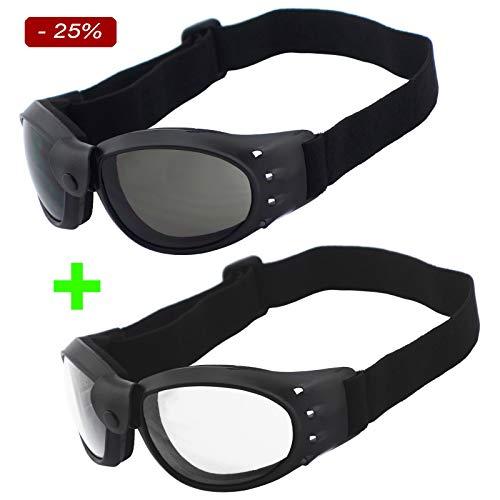 Helly Bikereyes SUPER DEAL - 2er Pack, Motorradbrille, schwarz & klar, Herren, Damen sidewinder - gepolstert