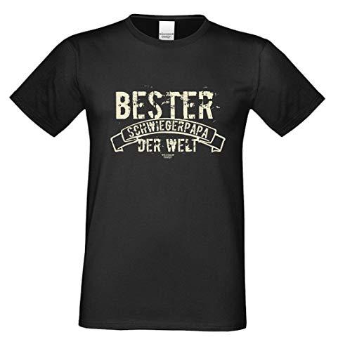 Family T-Shirt - Bester Schwiegerpapa der Welt - Hemd als Geschenk oder Outfit für Deinen Schwiegervater - schwarz, Größe:M