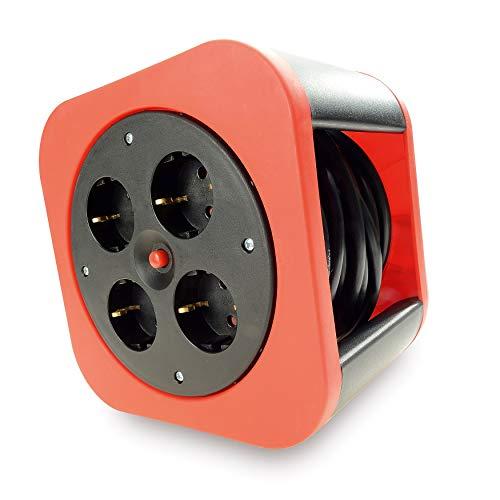 Mini Kabeltrommel 10m Indoor 4fach – Design Kabelrolle Kunststoff in Rot mit Thermoschalter als Überhitzungsschutz, stapelbar – originelle und flexible Stromversorgung für Haus, Wohnung, Büro
