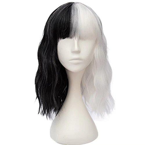 (Estyle Fashion 16 Inches(40CM) Mittellang Lockig Lolita Party Dame Cosplay Hair Full Wig Perücke (Schwarz + Weiß))