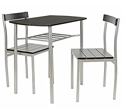 ts-ideen - Set of 3 pieces dining table plus 2 chairs, aluminium MDF, kitchen livingroom office