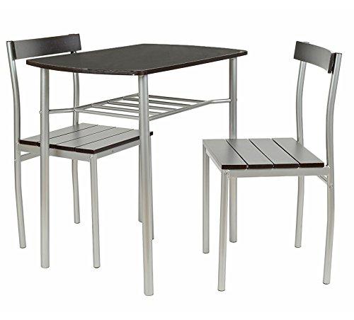 ts-ideen 2822 Set 3 pezzi Tavolo con 2 sedie in Alluminio e MDF color Nero per Cucina o Sala da Pranzo