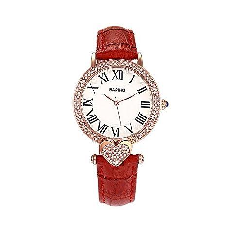 Hongboom Rouge véritable de bande de cuir montre bracelet étanche à 30m pour femme décontracté Business Quartz Analogique montre de zircon Fashion Robe Montre-bracelet