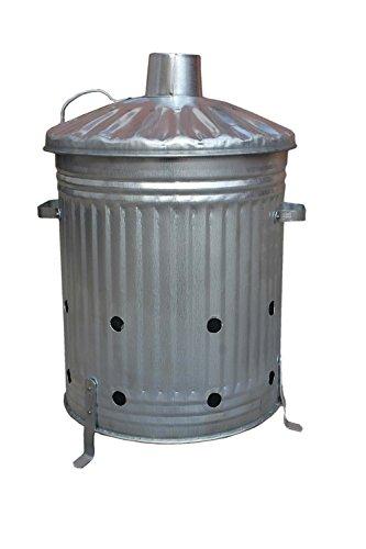 Petit/Moyen/Grand Fire Poubelle galvanisé Incinérateur de jardin Idéal pour brûler feuilles/bois/Papier, Métal, argent, 60 Litre