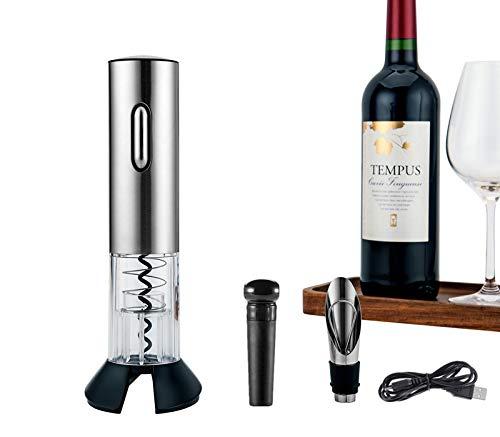 Zoutt apribottiglie elettrico,cavatappi elettrico opener cavatappi da vino con tappo del vino/versatore/cavatappi/usb cavo di ricarica, lega di alluminio