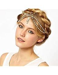 Stirnkette Stirnschmuck Kopfkette Kopfschmuck mit Blatt Blume Tassel