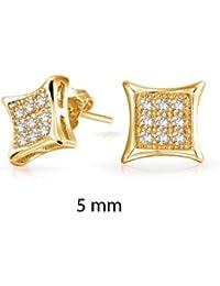 Bling Jewelry Micro Allanar Oro Vermeil Kite Hombre stud Arete 5mm