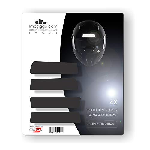Kit 4 Bandes Stickers rétro réfléchissants pour Casque Moto - Nouvelles Formes stylisées - Qualité Allemande - Noirs