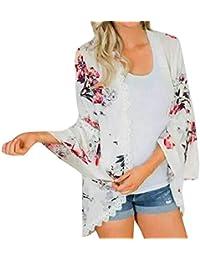 Holywin Womens Chiffon Floral Print Kimono Half Sleeve Shawl Cardigan Cover Up Blouse