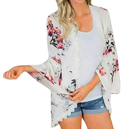 Amuster Frauen Chiffon Blumendruck Spitze Mantel Oberteile Kimono -